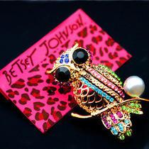 Betsey Johnson Pretty Fashion Jewelry Female Cute Pearl Crystal Owl Brooch Pin Photo