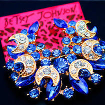 Betsey Johnson Pretty Female Jewelry Rhinestone Moon Charm Brooch Pin Photo