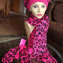 Betsey Johnson Pretty Kitty Beret  Scarf  Mittens - 3pc Set- One Size Nwt 112 Photo