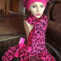 Betsey Johnson Pretty Kitty Beret  Scarf  Mittens - 3pc Set- One Size Nwt 112 Photo