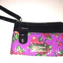 Betsey Johnson Purple Sequin Twinkle Toes Wristlet Bag Purse Wallet Photo