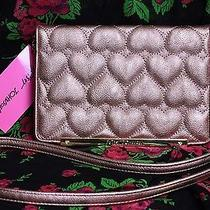 Betsey Johnson Purse Crossbody Rose Gold Quilted Puffy Heart Wallet on String Photo