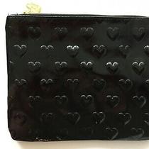 Betsey Johnson Quilt Hearts Make Up Cosmetic Bag Clutch Pouch Black New Photo