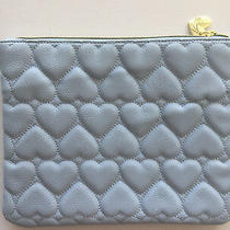 Betsey Johnson Quilt Make Up Cosmetic Bag Clutch Pouch Blue New  Photo