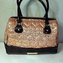 Betsey Johnson Quilted Hearts Blush Sequin Black Patent Leather Tote Nwot Photo