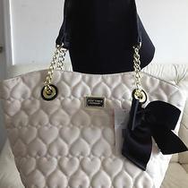 Betsey Johnson Quilted Hearts Key Item Dip Tote Handbag Purse Bone Black Charm Photo