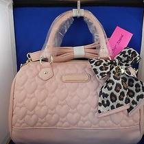 Betsey Johnson Quilted Hearts Satchel Bag Nwt Blush Pink Photo