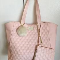 Betsey Johnson  Quilted Tote Handbag & Wristlet Set Bm18985 Blush Pink Photo