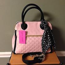 Betsey Johnson Quilty as Charged Triple Entry Blush Black Satchel Handbag Photo