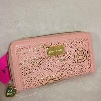 Betsey Johnson Racey Lacey Wallet Blush Pink Metallic Gold Floral Photo