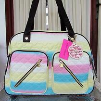 Betsey Johnson Rainbow Cargo Weekender Travel Bag Duffle Luggage Be Mine Nwt Photo