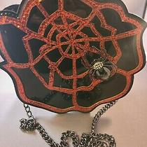 Betsey Johnson Red Purse Red Rose With Black Tarantula Spider Web Crystals New Photo