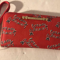 Betsey Johnson Red Signature Logo Zip Around Wallet/wristlet Nwt Photo