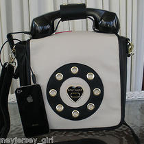 Betsey Johnson Retro Ring Me Phone Bag Handbag Crossbody Black Purse Nwt  Photo