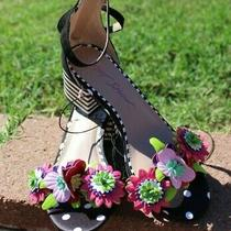 Betsey Johnson Sandals High Heels Size 5 5.5 Black Red Pink Muertos Polka 89 Nw Photo