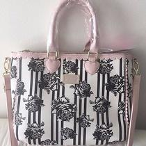 Betsey Johnson Scallop Triple Compart Satchel Tote Handbag Blush Black White Nwt Photo