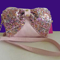 Betsey Johnson Sequins Blush Pink Bow Messenger Crossbody Handbag Nwt Photo
