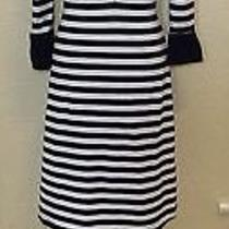 Betsey Johnson Small Black White Striped Stretchy Modal Wiggle Vintage Dress Photo