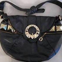 Betsey Johnson Soft Charcoal Gray Leather Studded Slouchy Hobo Handbag Photo