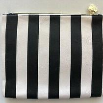 Betsey Johnson Stripe Black White Pouch Purse Flat Cosmetic Bag Clutch E  Photo