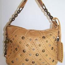 Betsey Johnson Tan Leather Studded Hobo Bag Photo