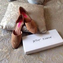 Betsey Johnson Tan Micro Suede Flats Size 8.5  Photo