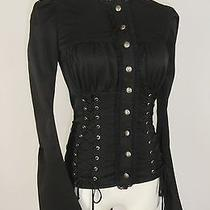 Betsey Johnson Top 4 Betseyville Black Double Lace Up Jacket Corset Victorian Photo