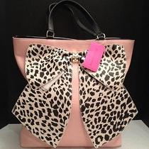 Betsey Johnson Tote Bow-Tastic Blush Br20700 Light Pink W/leopard Bow Nwt Photo