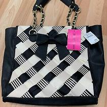 Betsey Johnson Tote. Weave on Black. Nwt Photo