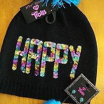 Betsey Johnson Trolls Misses Black Knit Cap Pom Matching Pierced Earrings Nwt Photo