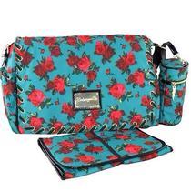 Betsey Johnson Turquoise Floral Diaper Messenger Bag Photo