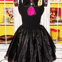 Betsey Johnson Vintage Dress Tutu Corset Fit & Flare Pink Rose Ballet M S 4 6 8 Photo