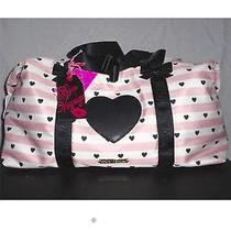 Betsey Johnson Weekender Away We Go Blush Heart Trim Travel Size Bag Buy Now Photo