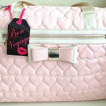 Betsey Johnson Weekender Be Mine Quilted Hearts Blush College Duffle Pink Y14 Photo