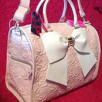 Betsey Johnson Weekender  Duffle Bag Pink Blush Roses Luggage Bow Pearls New Photo