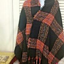 Betsey Johnson Womans Long Scarf Plaid Black Red Yellow Multi Color  Photo