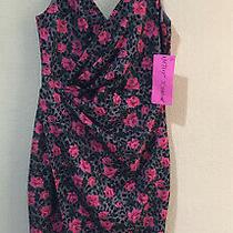 Betsey Johnson Women Floral Rose Pink Pop Leopard Print Sheath Dress Sz 10  Photo