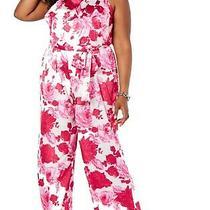 Betsey Johnson Women's Jumpsuit Pink Size 16w Plus Floral Wide Leg 128- 117 Photo