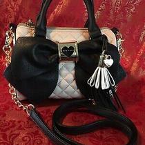 Betsey Johnson Women's Quilted Blush Pink Black Bow  Crossbody Purse Handbag Photo