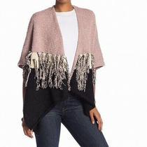 Betsey Johnson Women's Sweater Blush Pink One Size Colorblock Poncho 120 007 Photo