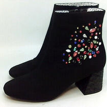 Betsey Johnson Womens Lea Suede Almond Toe Ankle Fashion Boots Black Size 6.0 Photo