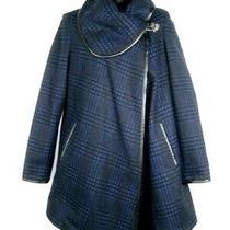 Betsey Johnson Womens Plaid Wool Coat Size Xs Blue Black a Line Swing Pockets Photo
