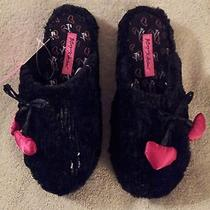 Betsey Johnson Womens Slippers Sequin Charm Scuffs Black Size S New W/tags Photo