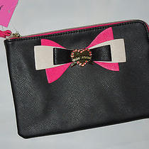Betsey Johnson Wristlet Bag Purse  Black With Bow and Name  Photo