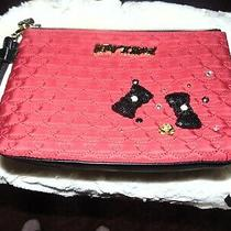 Betsey Johnson Wristlet Pouch Purse Clutch Lg Quilted Red Bows S Faux Pearls Photo