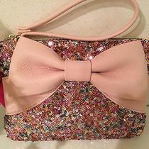 Betsey Johnson Wristlet Purse Sequin Bow Pink Blush  Photo