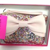 Betsey Johnson Wristlet Purse Sequin Bow Pink Blush New in Gift Box Nwt  Photo
