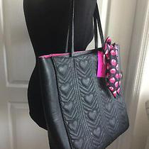 Betsey Johnson Xl Tote Handbag Purse Shoulder Satchel Black Quilt Scarf Bow Nwt Photo
