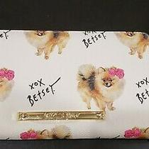 Betsey Johnson Z/a Wallet Xozipp-B Zip Around Pomeranian Cream Wristlet Nwt Photo