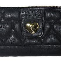 Betsey Johnson Zip Around Wallet Clutch Be Mine Turnlock Black New Photo